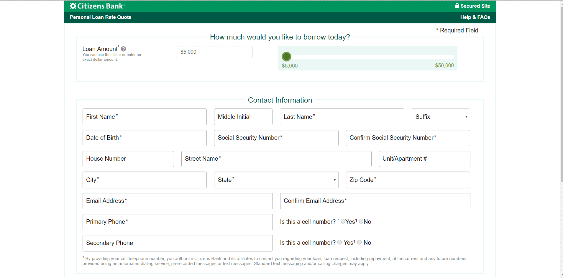 Citizens Bank website